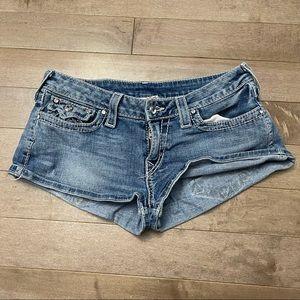 True Religion Disco Josie Big T Jean Shorts